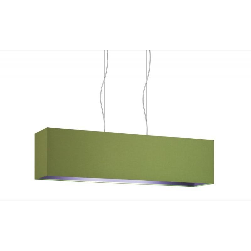 Lampada a sospensione rettangolare 2 Punti Luce doppio tessuto Verde int. Viola cm 99x24 h25.