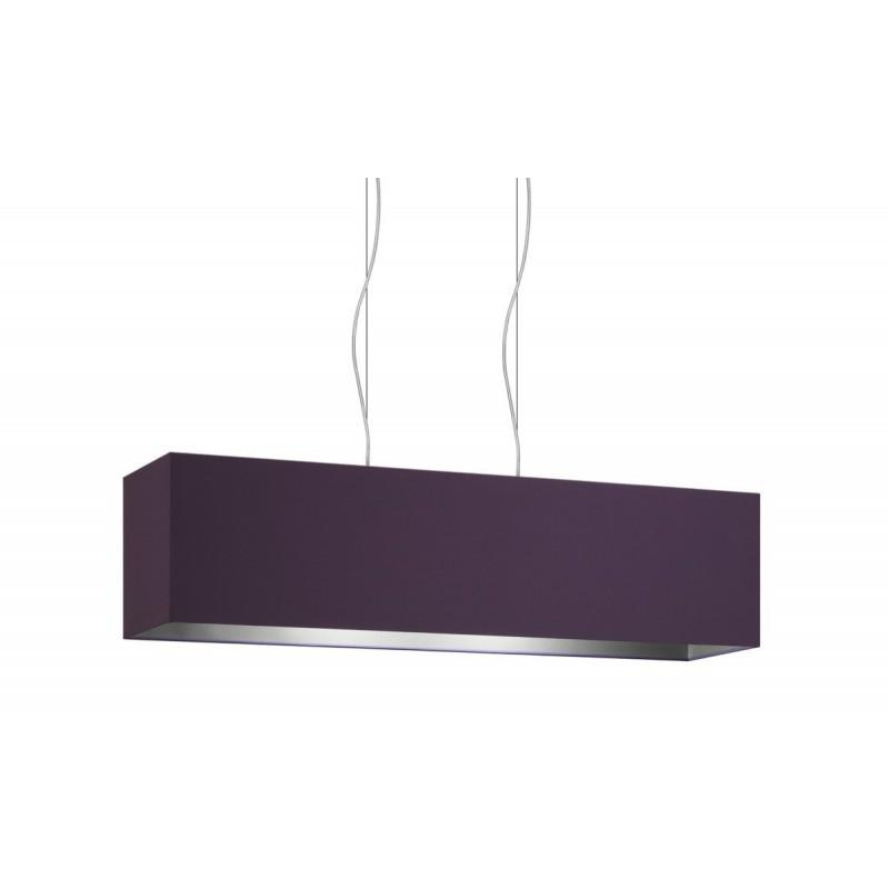 Violet Ash Double Fabric Two Light Square Pendant Lamp Cm 99x24 H25.