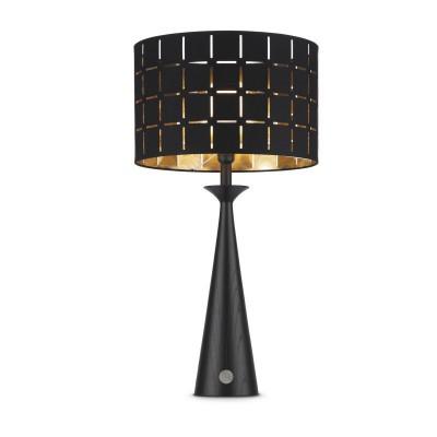 Lampada da tavolo Faro, legno + Paralume Nero Int.Oro, Accensione touch