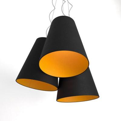 Trittico sospensione 3 paralumi a cono bicolore  nero-mandarino