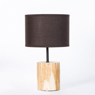 Lampada da tavolo in legno naturale. Linea Basic. Paralume Marrone, diametro 18cm, h. 30cm.