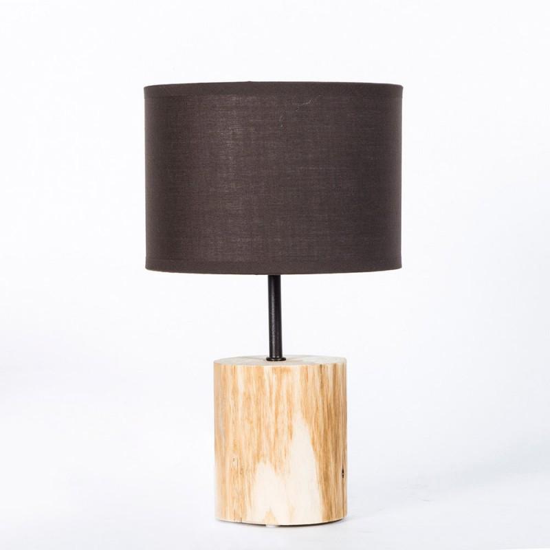 Lampada da tavolo in legno naturale linea basic paralume marrone diametro 18cm h 30cm - Lampade da tavolo in legno ...
