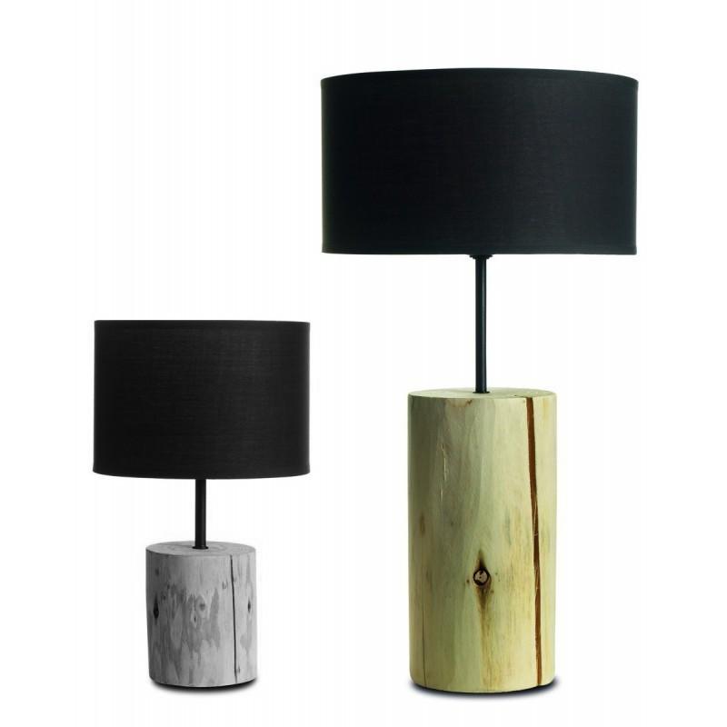 Lampada da tavolo in legno naturale. Linea Basic. Paralume Marrone, diametro 26cm, h. 50cm.