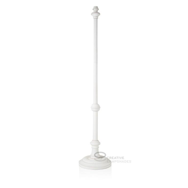 Floor Lamp Base Coated White Wood Power Supply E27