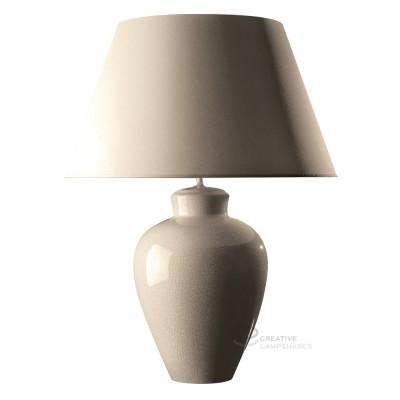 Lampada da tavolo base tondeggiante in ceramica latte con paralume teletta latte con attacco E27 Max 60W