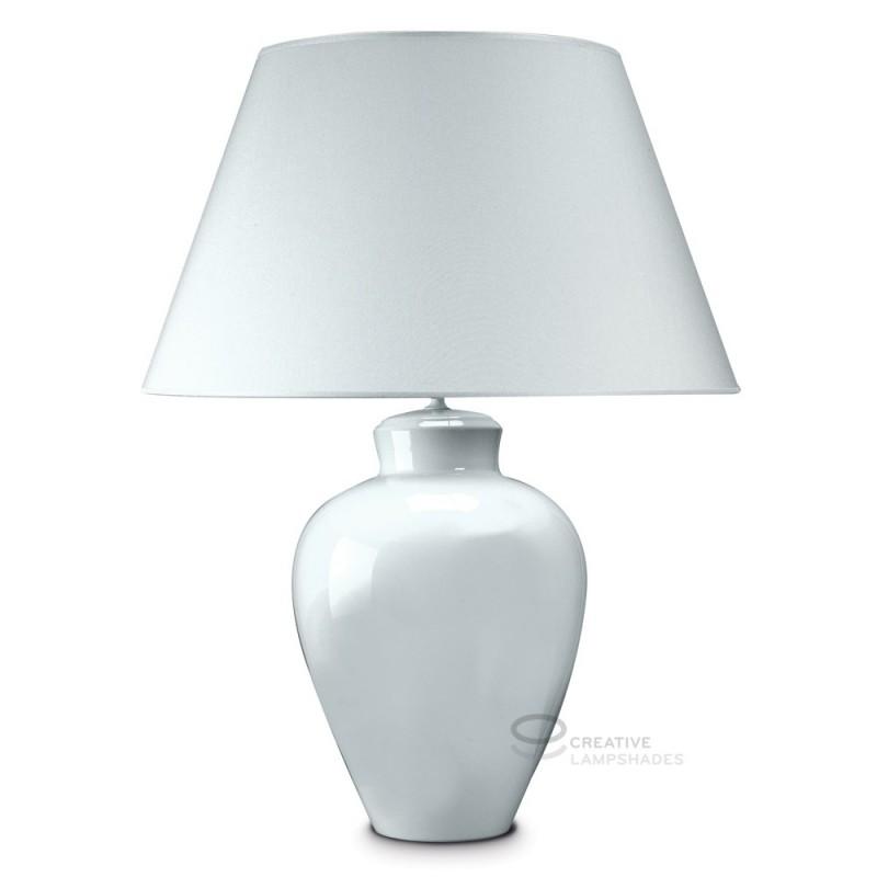 Lampada da tavolo base tondeggiante in ceramica bianca con paralume teletta bianco con attacco ...