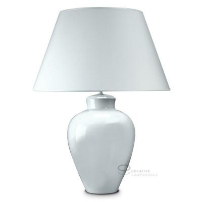Lampada da tavolo base tondeggiante in ceramica bianca con paralume teletta bianco con attacco E27 Max 60W