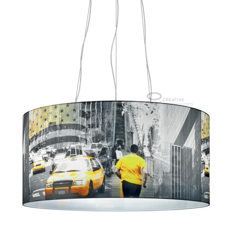 lampe suspension norme compl te 3 lumi res nyc taxi jaune avec culot 3xe27 max 60w. Black Bedroom Furniture Sets. Home Design Ideas