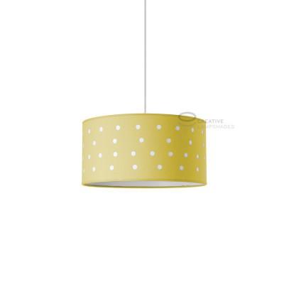 Sospensione completa esterno in cotone giallo intagliato e interno cotone sabbia con attacco E27 Max 60W