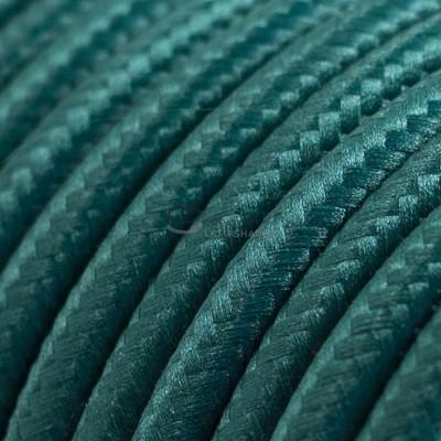 Pendel per paralume a sospensione con cavo tessile Effetto Seta Verde scuro
