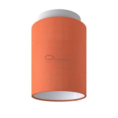 Fermaluce: punto luce a parete o a muro in metallo bianco con Paralume Cilindro Cinette Aragosta, Ø 15cm h18cm