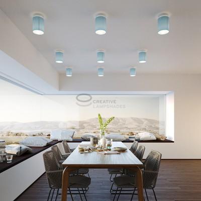 Fermaluce: punto luce a parete o a muro in metallo bianco con Paralume Cilindro Teletta Celeste, Ø 15cm h18cm
