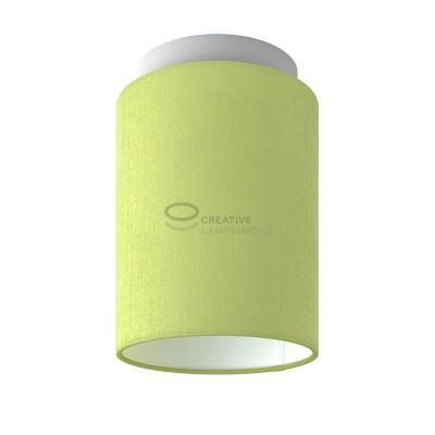 Fermaluce: punto luce a parete o a muro in metallo bianco con Paralume Cilindro Teletta Verde Oliva, Ø 15cm h18cm