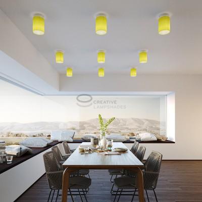 Fermaluce: punto luce a parete o a muro in metallo bianco con Paralume Cilindro Teletta Giallo Vivo, Ø 15cm h18cm