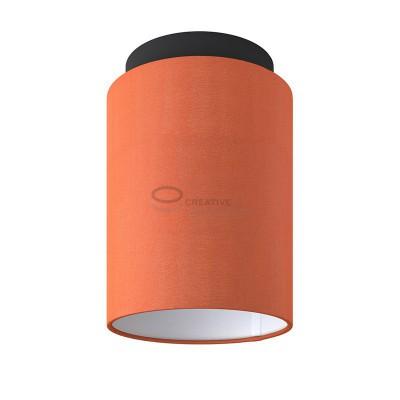 Fermaluce: punto luce a parete o a muro in metallo nero con Paralume Cilindro Cinette Aragosta, Ø 15cm h18cm