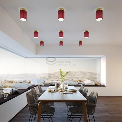 Fermaluce: punto luce a parete o a muro in metallo ottonato con Paralume Cilindro Teletta Bordeaux, Ø 15cm h18cm