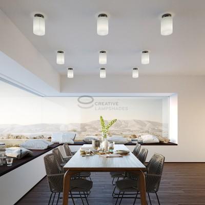 Fermaluce: punto luce a parete o a muro in metallo nero perla con Paralume Cilindro Linone Bianco, Ø 15cm h18cm
