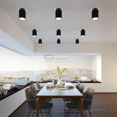 Fermaluce: punto luce a parete o a muro in metallo nero perla con Paralume Cilindro Cinette Petrolio, Ø 15cm h18cm