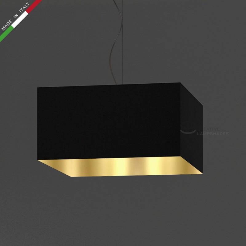 abat jour parall l pip de rev tement toile noir avec int rieur or. Black Bedroom Furniture Sets. Home Design Ideas