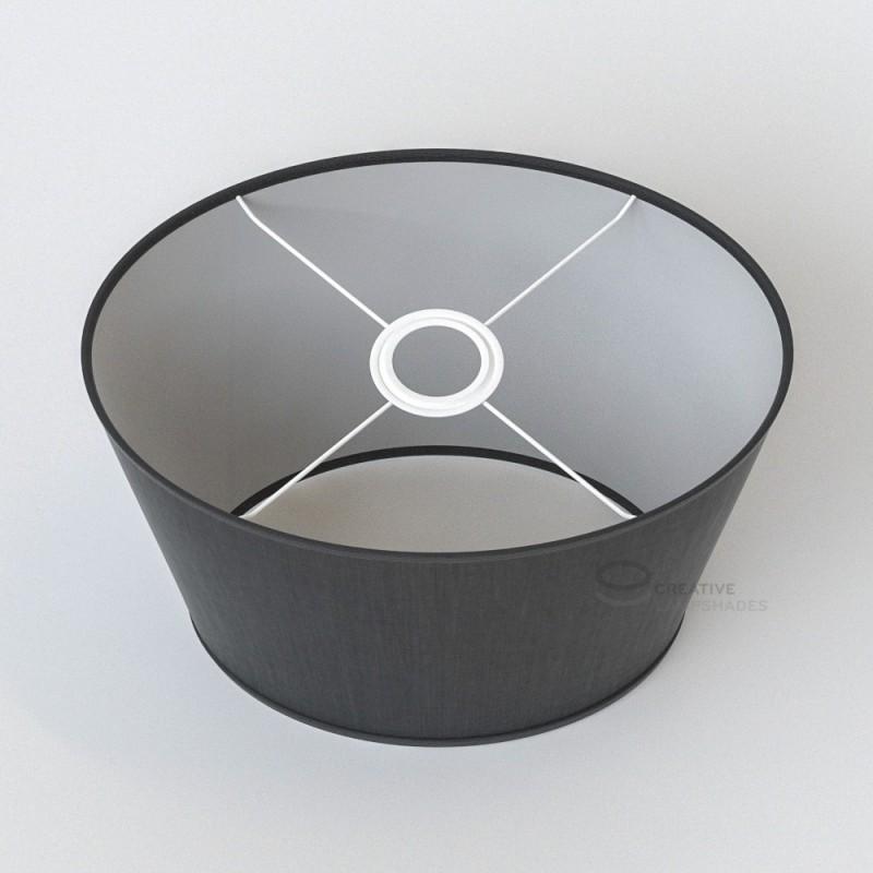 oval verkleideter lampenschirm schwarz leinwand. Black Bedroom Furniture Sets. Home Design Ideas