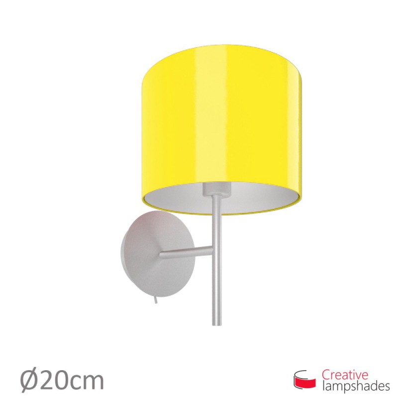 abat jour cylindre rev tement lumi re jaune. Black Bedroom Furniture Sets. Home Design Ideas