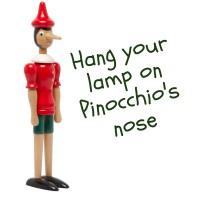 Pinocchio: appendi a parete qualsiasi lampada!