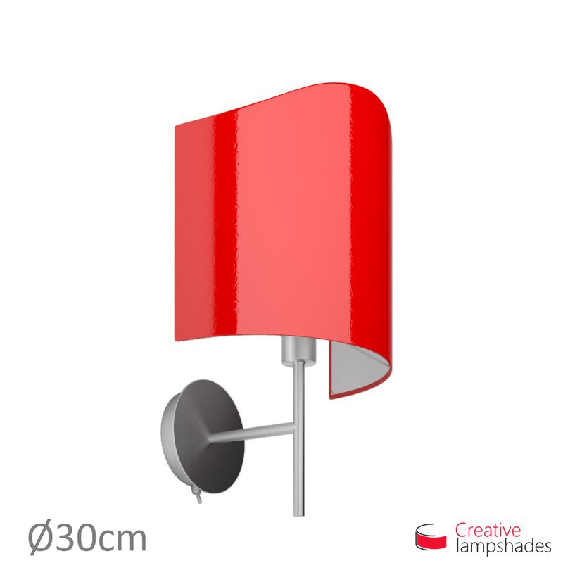 Paralume ventola sagomata per applique a muro rivestimento Lumiere Rosso