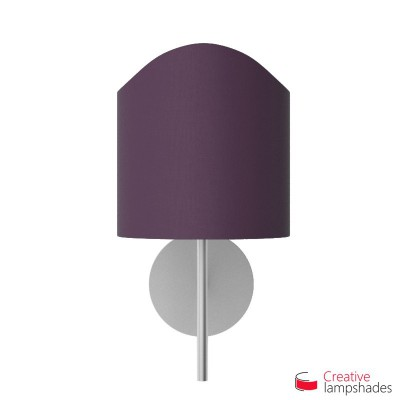 Scallop half cylinder lampshade for wall lamp Dark Violet Canvas covering