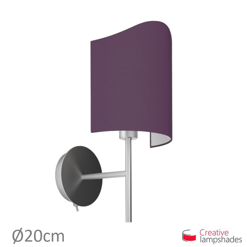 abat jour applique model e pour lampe murale rev tement toile violet fonc. Black Bedroom Furniture Sets. Home Design Ideas