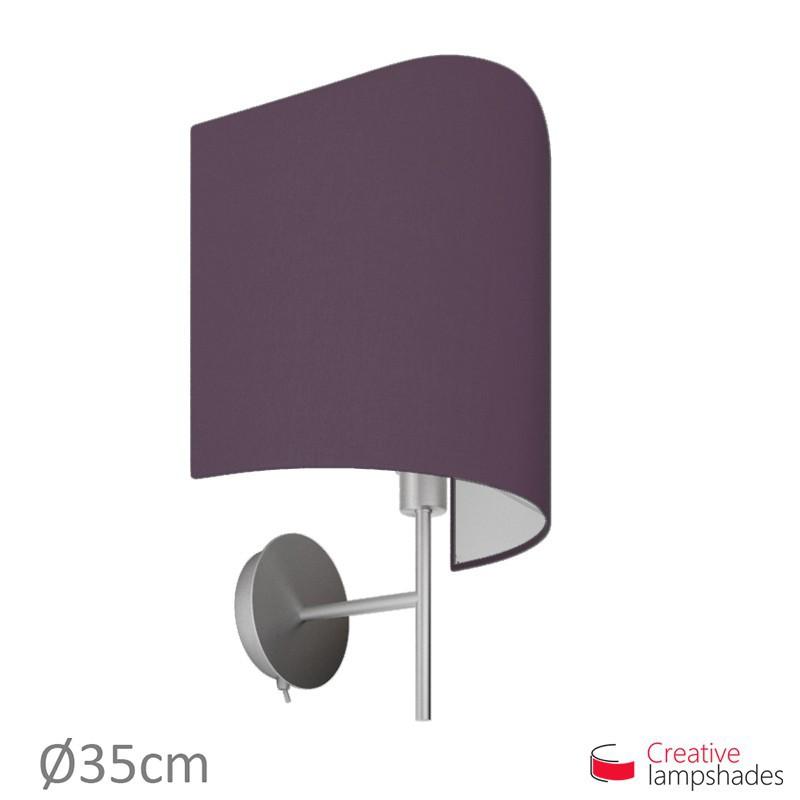Paralume ventola sagomata per applique a muro rivestimento Teletta Viola Scuro