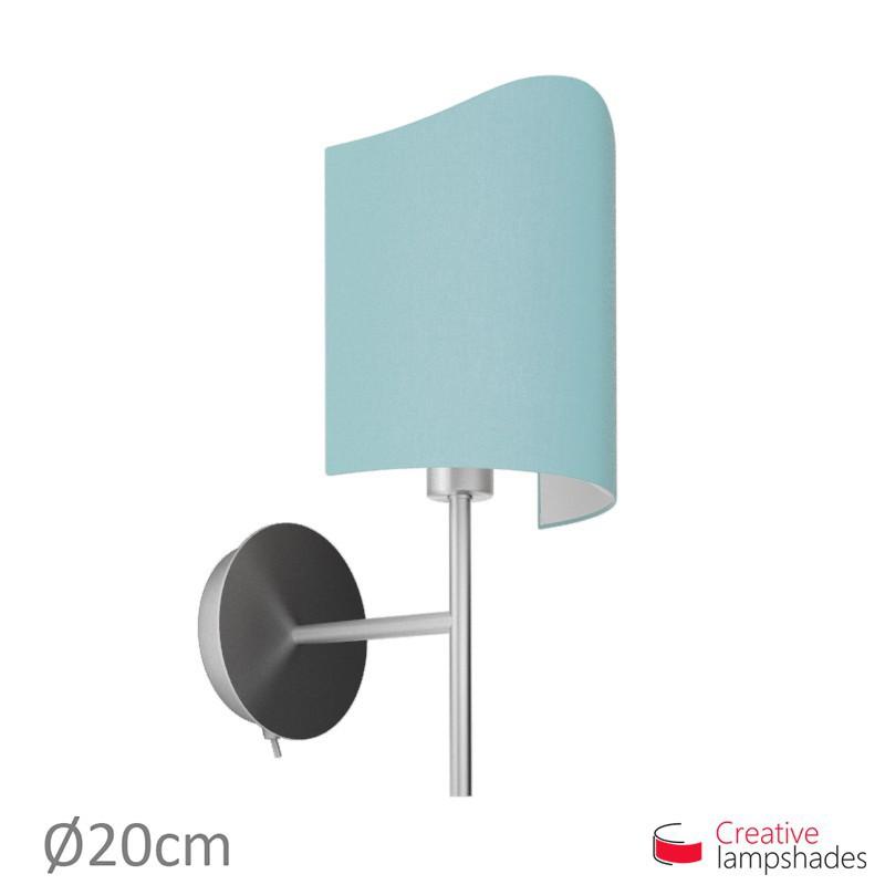 Paralume ventola sagomata per applique a muro rivestimento Teletta Celeste