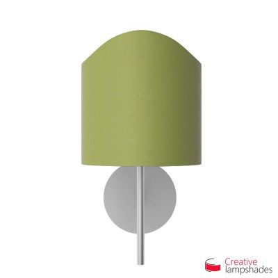 Scallop half cylinder lampshade for wall lamp Olive Green Canvas covering