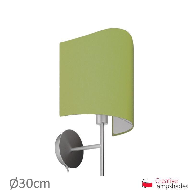 Paralume ventola sagomata per applique a muro rivestimento Teletta Verde Oliva