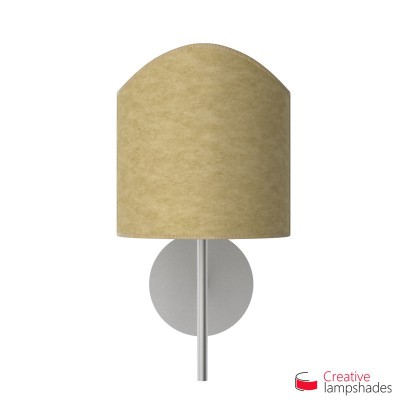 Scallop half cylinder lampshade for wall lamp Yellow Parchment covering