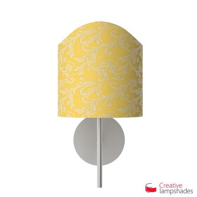 Scallop half cylinder lampshade for wall lamp Golden Yellow Damascus covering