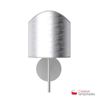 Scallop half cylinder lampshade for wall lamp with Silver leaf covering