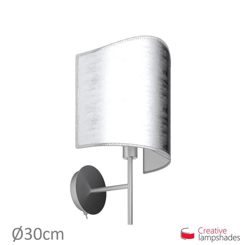 Paralume ventola sagomata per applique a muro rivestimento Foglia Argento