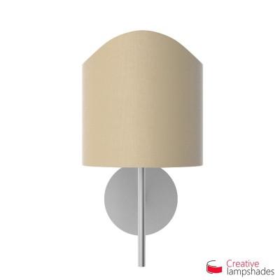 Lampenschirm halbrund Zylinder für Wandleuchte Jakobsmuschel Haselnuss Leinwand innen gold
