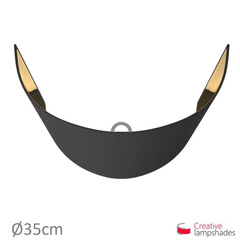 Paralume ventola sagomata per applique a muro rivestimento Teletta Nero int. Oro