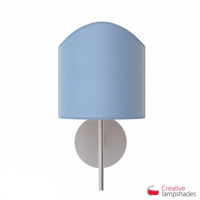 Scallop half cylinder lampshade for wall lamp Heavenly Blue Jute covering