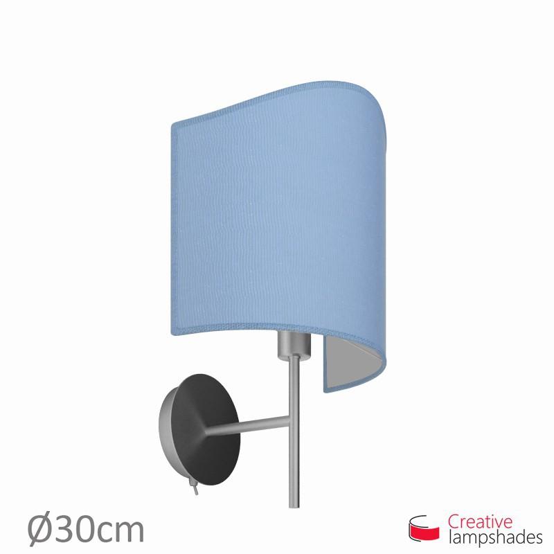 Paralume ventola sagomata per applique a muro rivestimento Juta Celeste