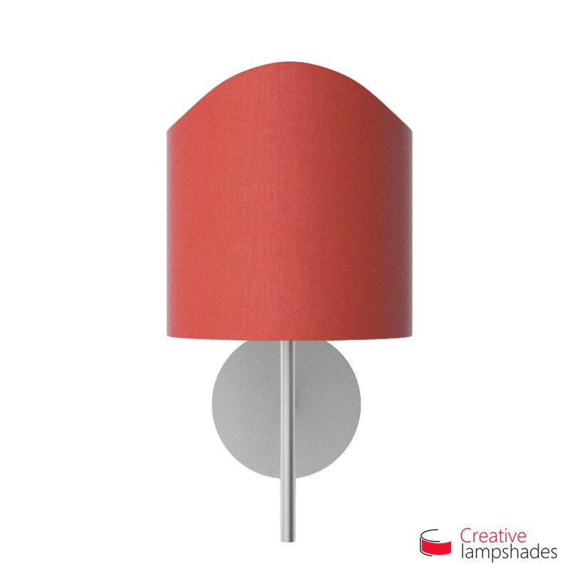 Scallop half cylinder lampshade for wall lamp Red Canvas cover