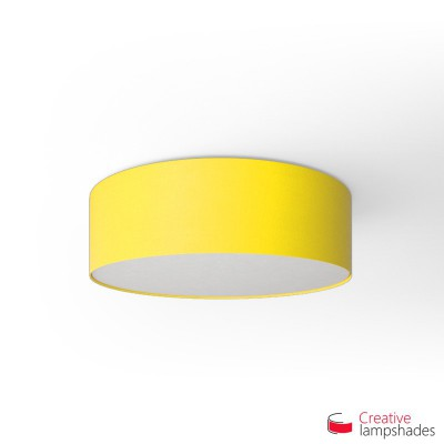 Round ceiling lamp with Bright Yellow Canvas covering