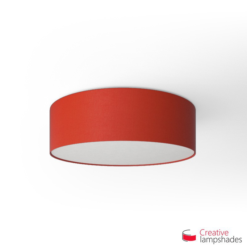 Round ceiling lamp with red canvas cover round ceiling lamp with red canvas covering aloadofball Choice Image