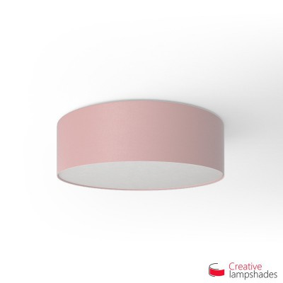 Round ceiling lamp with Pink Canvas covering