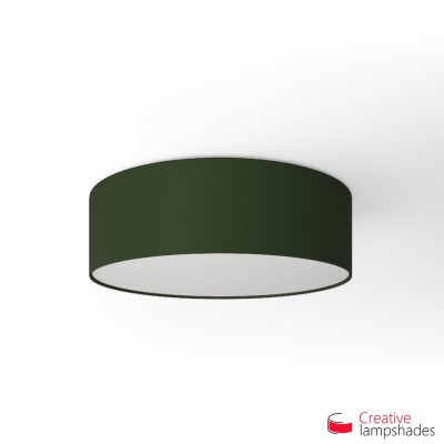 Round ceiling lamp with Dark Green Canvas covering
