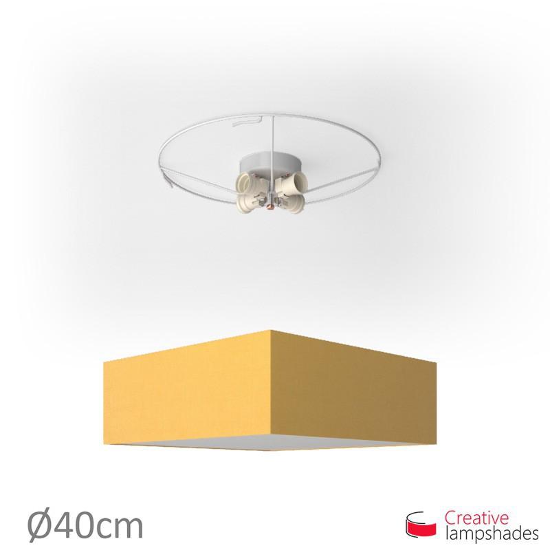 Plafoniera quadrata rivestimento Teletta Giallo Oro