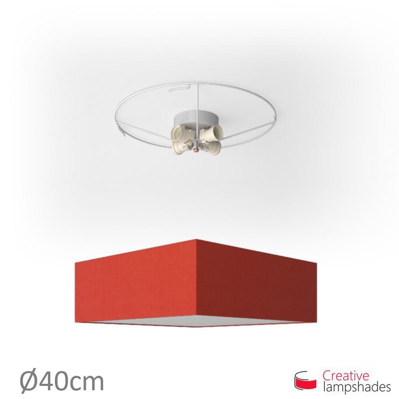 Plafoniera quadrata rivestimento Teletta Rosso