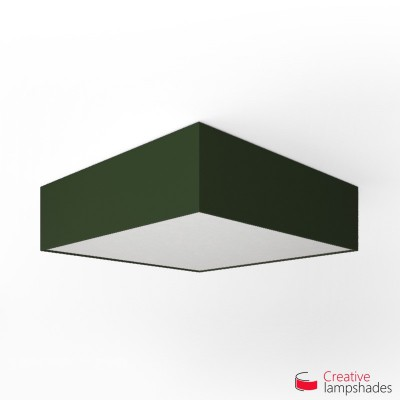 Square ceiling lamp with Dark Green Canvas cover