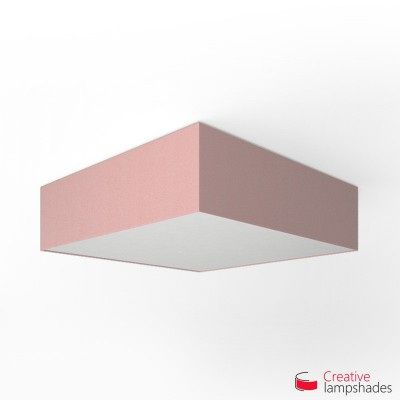 Square ceiling lamp with Antique Pink Cinette cover